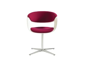 White Lox Chair with Pink Cushions on white background