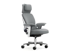 side view of a gray leap worklounge with headrest