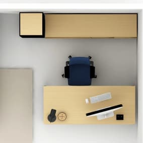 Rendering of a home office with a blue Gesture chair, credenza storage and bookcase, soto wireless charger, greenpoint desk