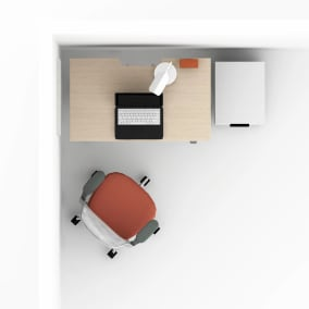 work from home setting with Steelcase series 1 chair, bivi desk, mobile pedestal, polyvision whiteboard