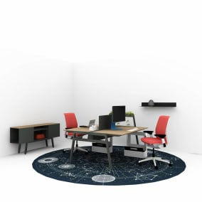 work from home setting with bivi table for two, two Think chairs, bivi trunk,