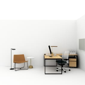 Steelcase Amia Chair, Steelcase Worktools, Flos Tab F Lamp, Polyvision Motif Panel, West Elm Greenpoint, West Elm Slope Lounge Chair, West Elm Maisie Side Table, West Elm Linear Wood LED Task Lamp Planning Idea