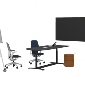 Steelcase Migration SE Pro, Steelcase SILQ Chair, Steelcase Roam Collection, Bolia Grab Pouf, Wendelbo Tip Toe Bench