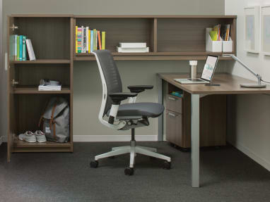Payback desk and storage unit in private office setting