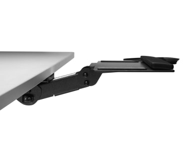 Side-view of Enviro Keyboard Platform attached with Stella Mechanism to a desk