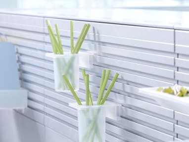 2 Pen + Pencil Cups attached to SlatWall holding Lime Green Pencils