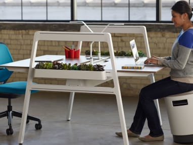Woman working on a laptop while sitting on a Buoy Active Sitting Task Chair at a Bivi Desk