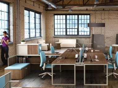 Four Tour Workspace with storage and benches