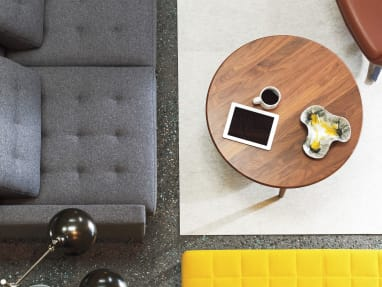 Overhead View of Walnut FInish Coffee Table CH008 in front of lounge seating