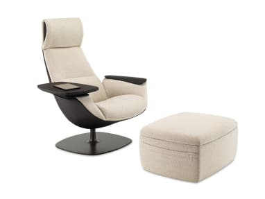 Black and White Massaud Lounge Seating with an ottoman with storage