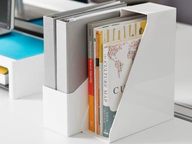 Two White SOTO Diagonal File Boxes on a desktop