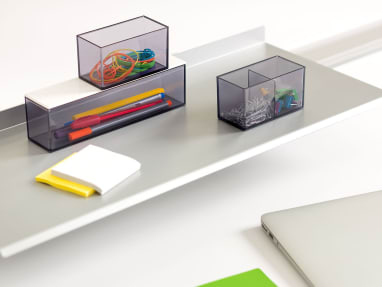 Set of 3 SOTO Storage Boxes on a shelf with rubberbands, writing utensils, and clips