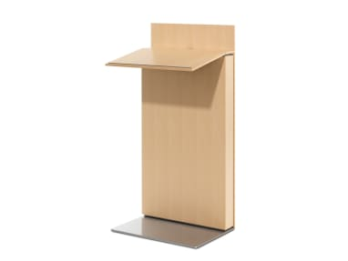 Exponents Lectern with a light wood finish on white background