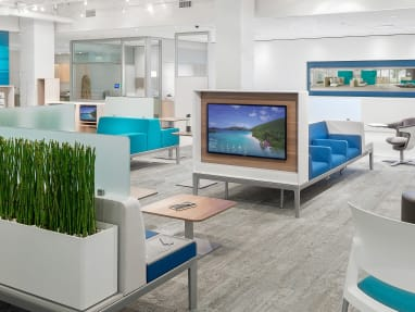 An example medical waiting room featuring Steelcase products, including a Turnstone Buoy, Move Chairs, and an i2i chair