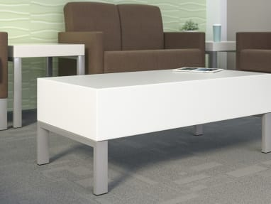 White Leela coffee table in a medical waiting room