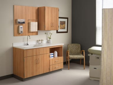 Folio cabinets and countertop in a medical exam room