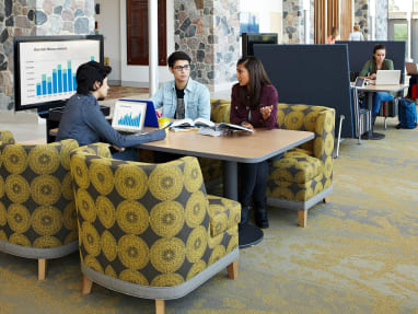 Captures the culture of the modern library, at Grand Valley State University, developed with WorkSpace Futures including the products media:scape mobile, bix table, bix lounge, thoughtful lounge