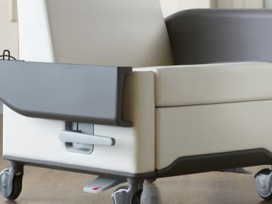 Close-Up of flip down arm on an Off-white Empath Patient Recliner