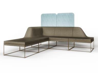 brown Umami sofa with light blue privacy screen