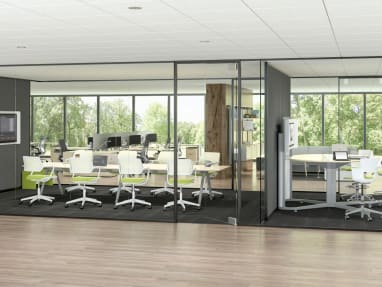 A rendering showing two meeting rooms, one with QiVi chairs arranged around a long table and the other with Shortcut 5-Star stool height chairs