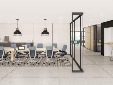 Rendering showing a conference room with Gesture chairs