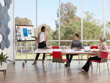 Woman makes a presentation using a Steelcase Roam Mobile Cart during a meeting in a room with a Potrero415 table and Montara650 chairs