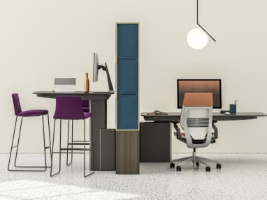 Rendering showing two work areas with Mackinac worksurfaces, Coalesse Montara650 stools, Gesture chair, and FLOS IC light