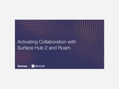 """""""Activating collaboration with surface hub 2 and roam"""" in white on a purple background"""
