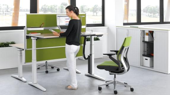 Universal Storage Cupboard, Gesture Office chair, Ology desk, Partito Screen