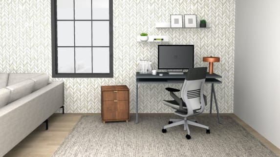 small home office with gesture chair