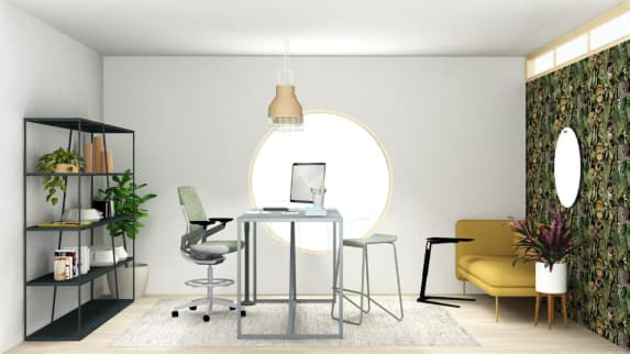 large home office with gesture stool