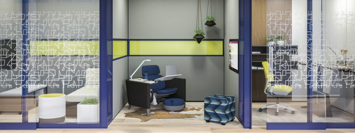 Three separate workstations featuring Steelcase products, including Buoy seating, a Brody workstation, and a Think desk chair