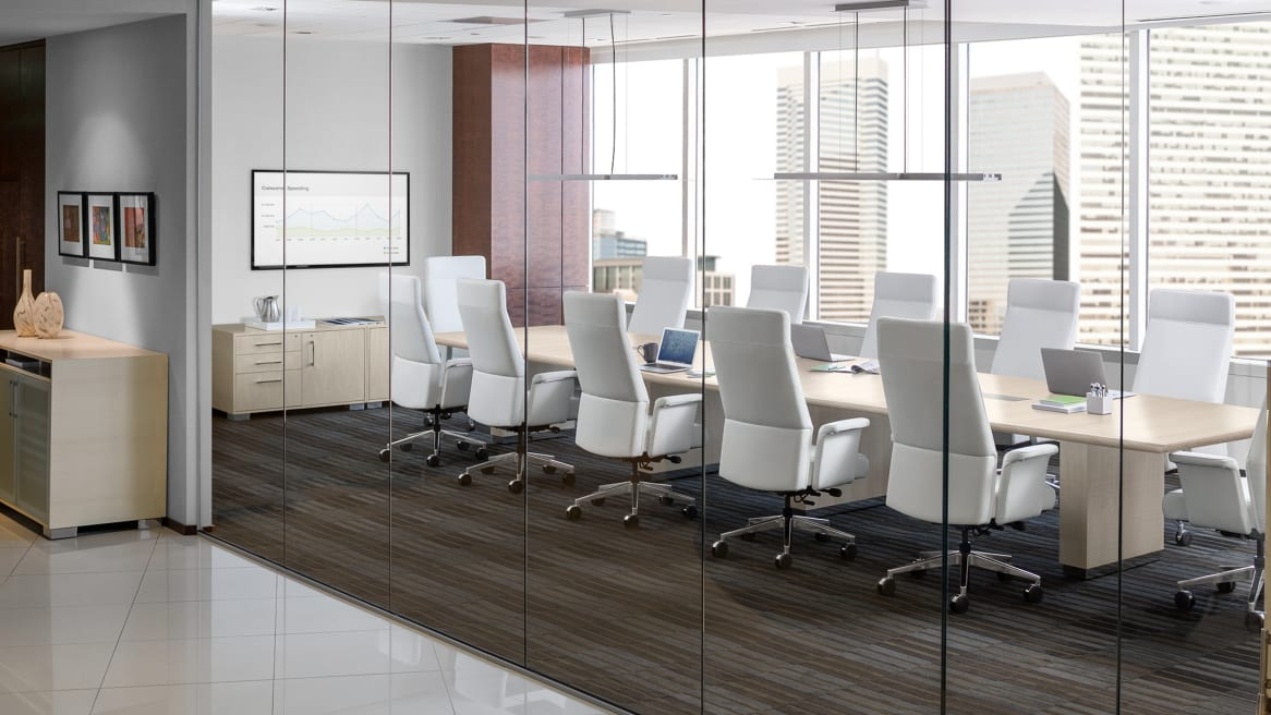 Convene Conference table and Siento High Back Chair in Conference Room Setting