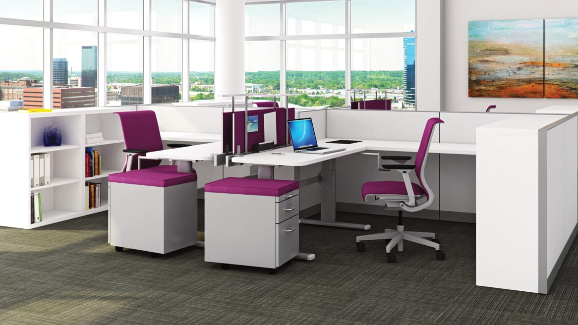 Cluster of 4 Kick Panel Workstations with pedestals