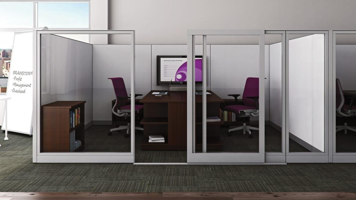 Full Glass Kick Freestanding Desks
