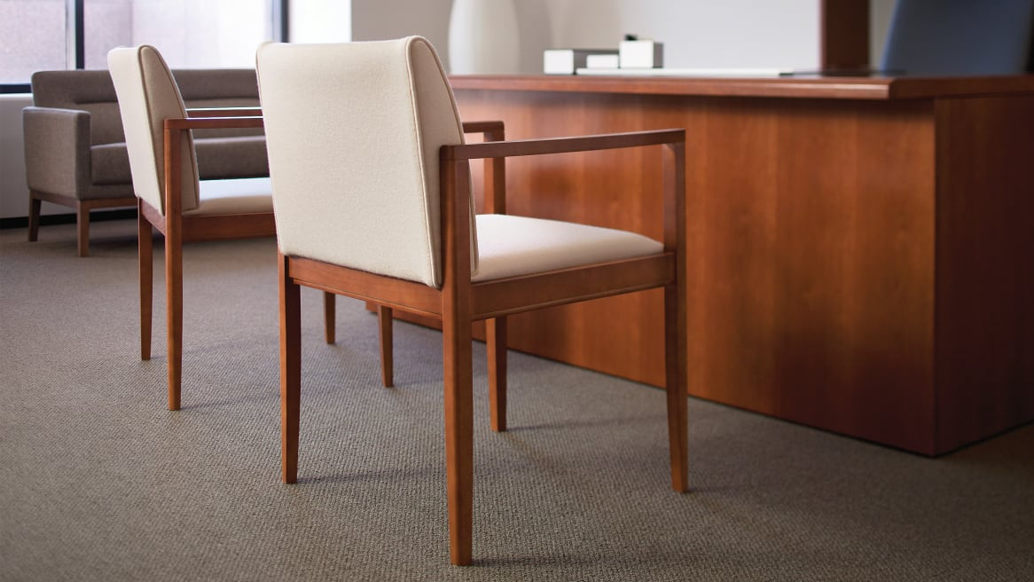 2 Collaboration Open Arm Guest Chairs in an office