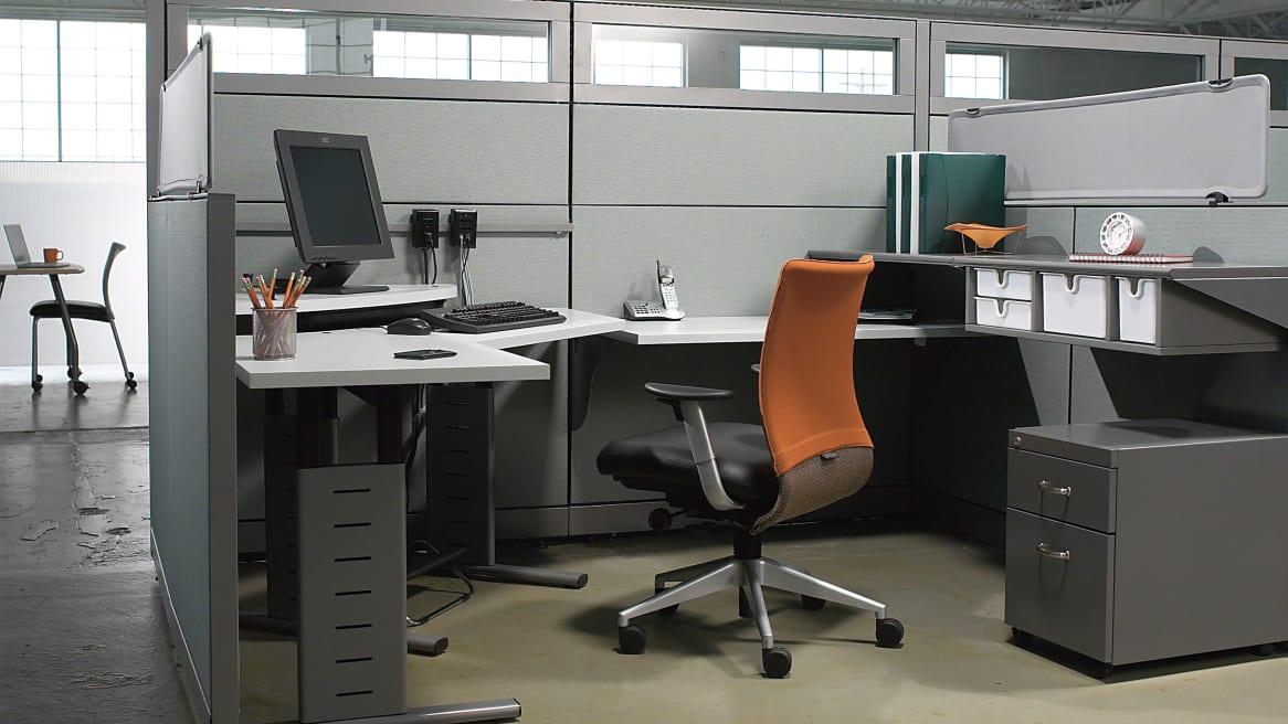 Burnt Orange Jersey Task Chair at an Series 5 120 degree AdjusTables