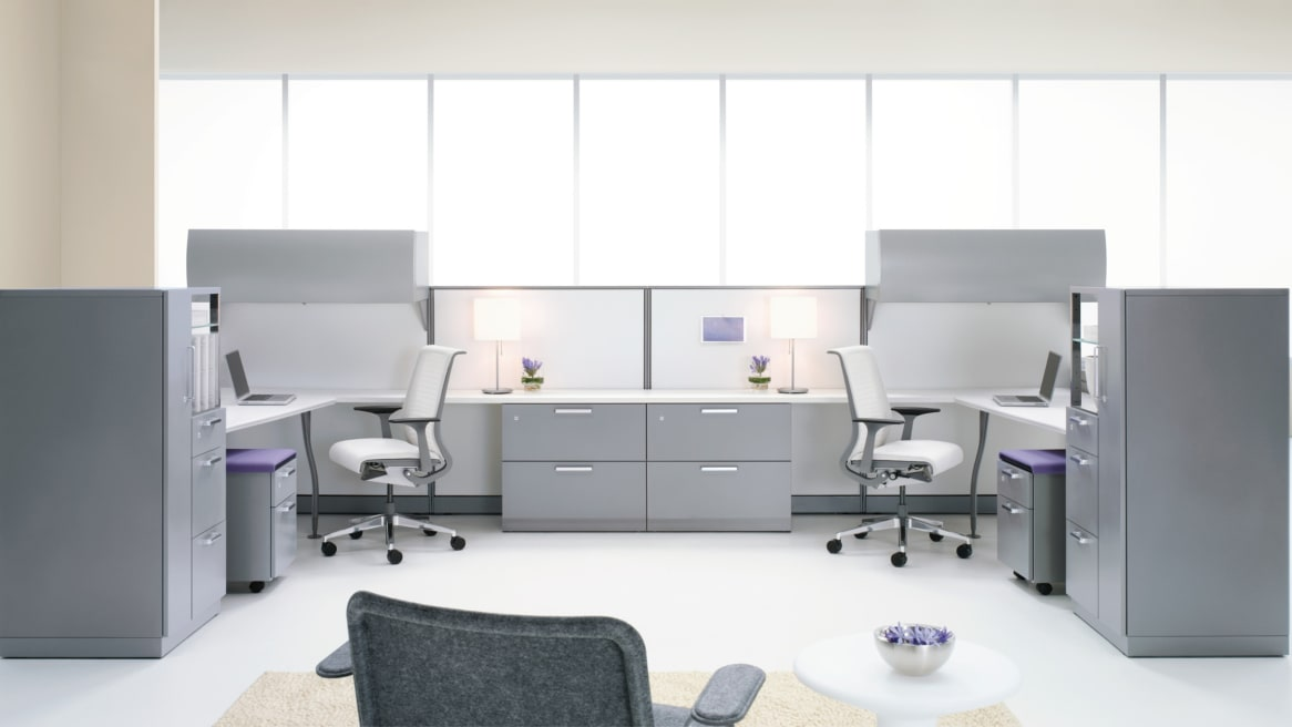 White Avenir Workstation with overhead storage