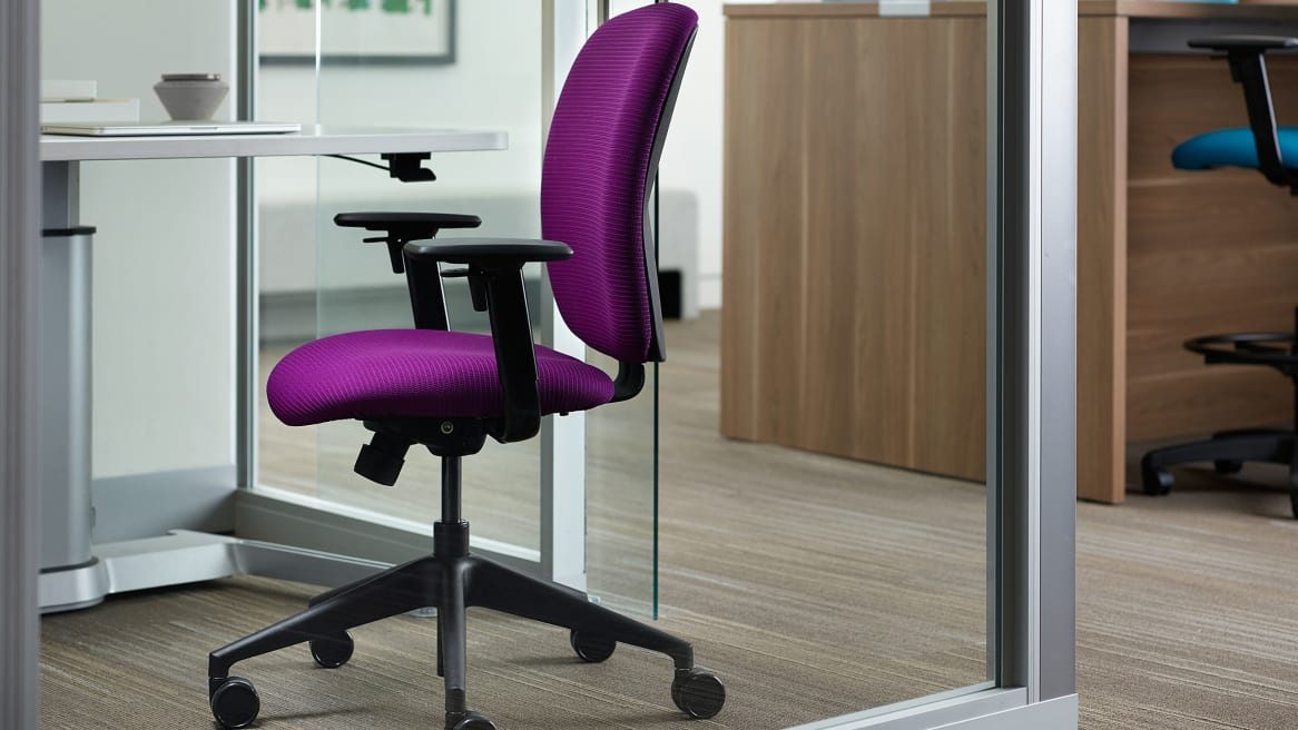 Purple Jack Desk Chair next ot an AirTouch Height Adjustable Desk