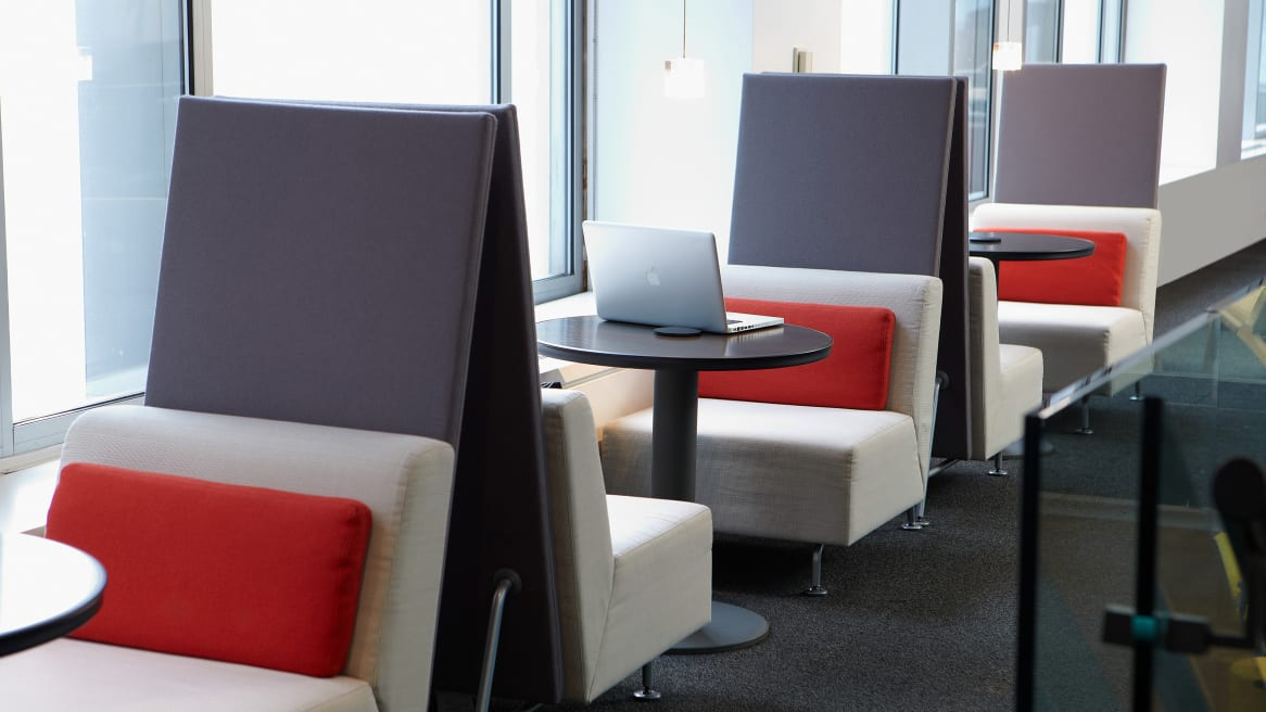 3 Bix Lounge booths in an office cafe area