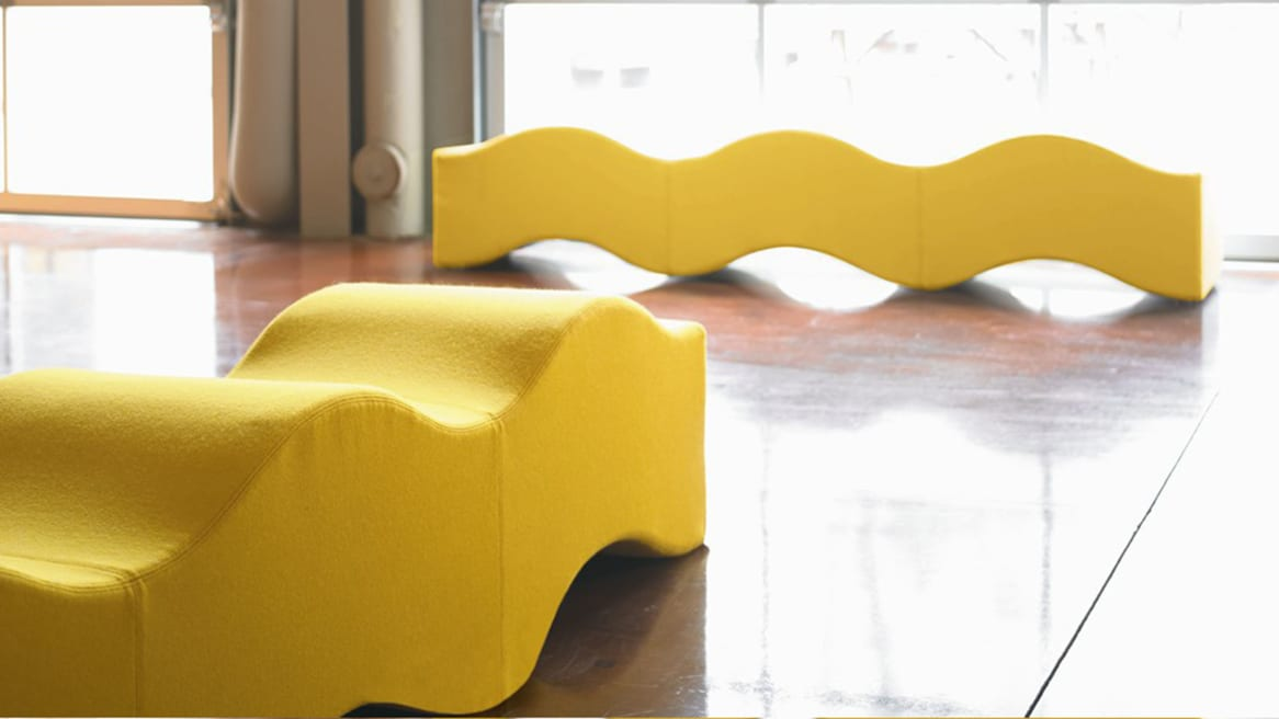 Two Yellow Ripple Contemporary Benches