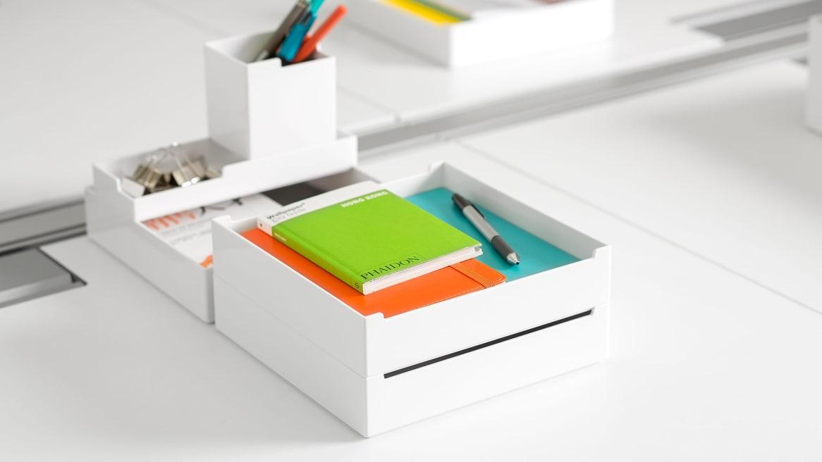 3 SOTO Pile Boxes on a desk