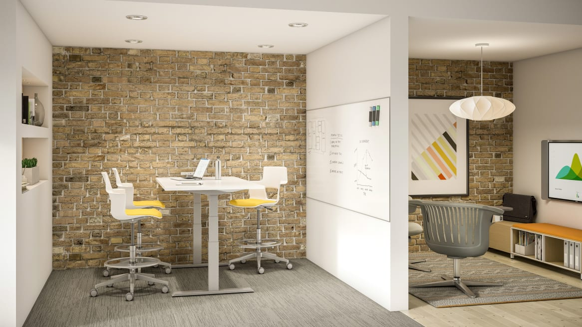 White Migration Height Adjustable Desk with three Yellow Shortcut Stools