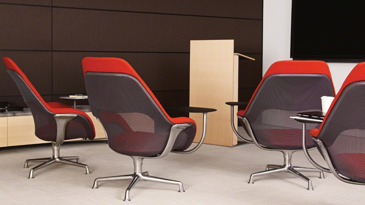 Exponents Lectern facing a group of SW_1 lounge Chairs