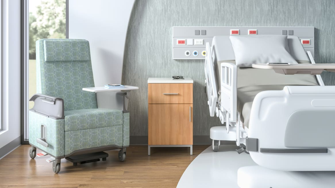 Senza Bedside Table with One Drawer and One Door in a patient room