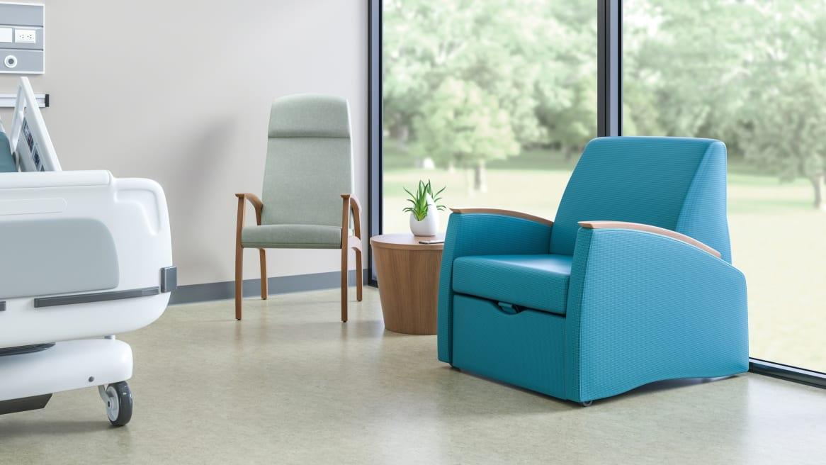 Blue Mitra Sleeper in a hospital room