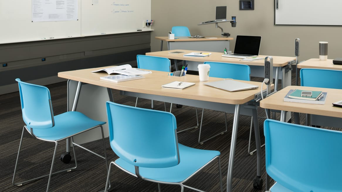 Blue Max Stacker III chairs in a classroom