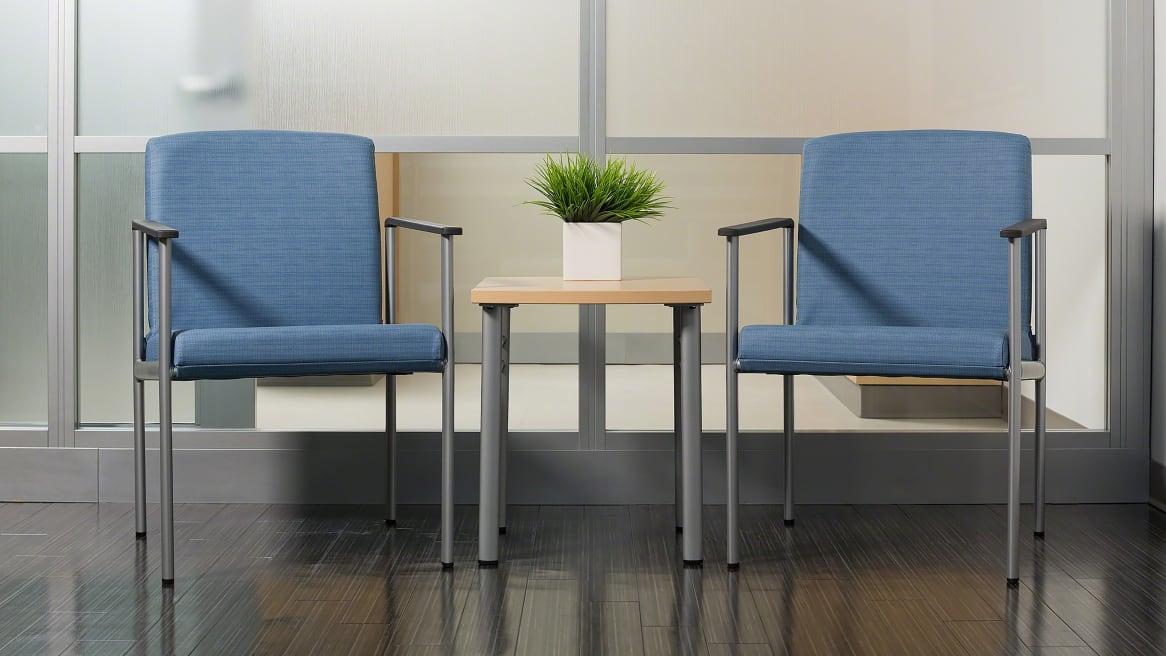2 Single-Seat Blue Aspekt Guest Chairs Environment