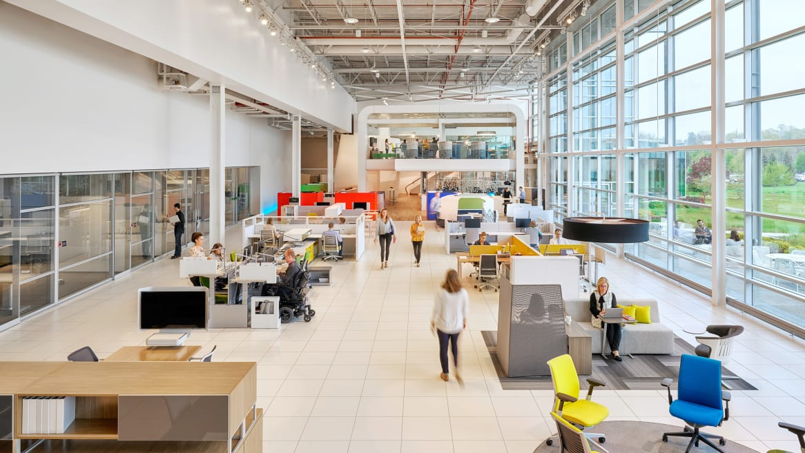 A shot from the Leadership Community at Steelcase, an open space area for working privately and collaborating