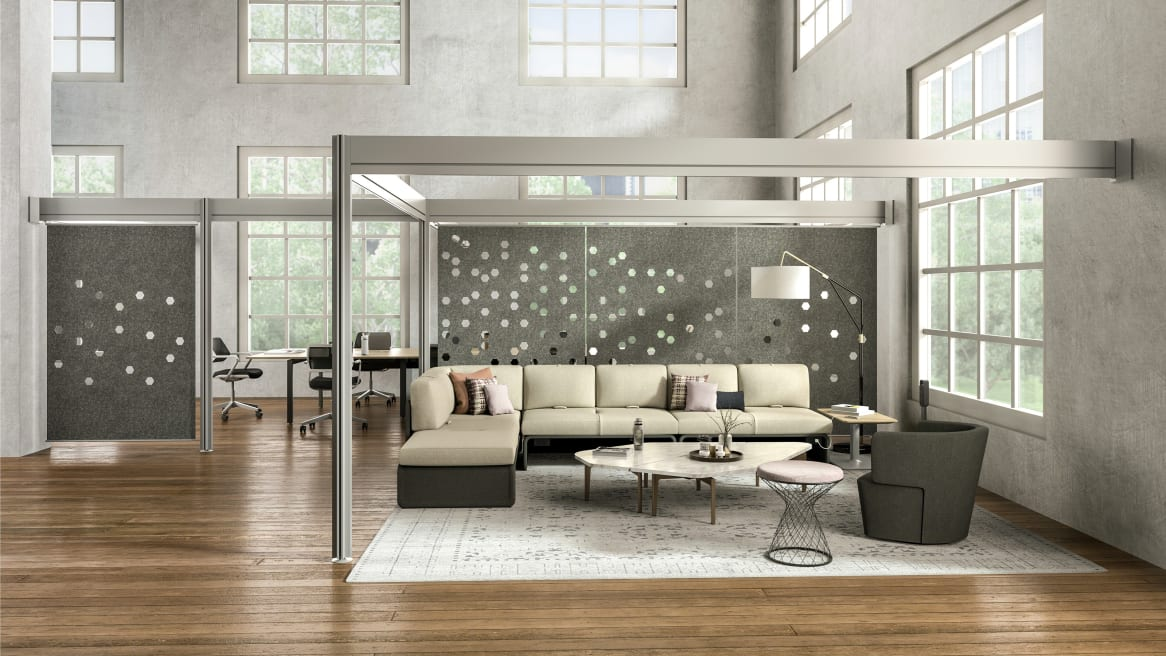 Lounge area partitioned with Post + Beam architectural framework